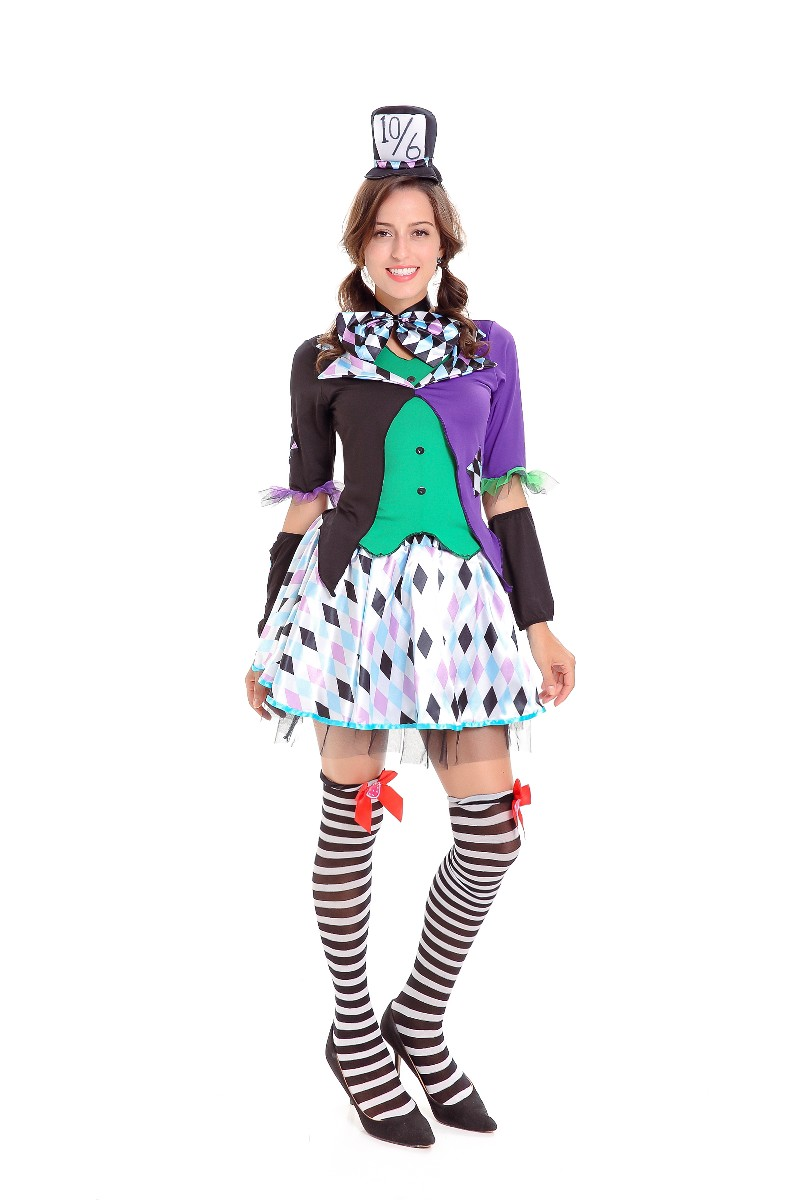 F1804 Halloween Circus Clown Costume Magic Tuxedo Role Play Costume