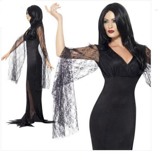 F1815 Ladies Black Immortal Soul Witch Halloween Fancy Dress Costume