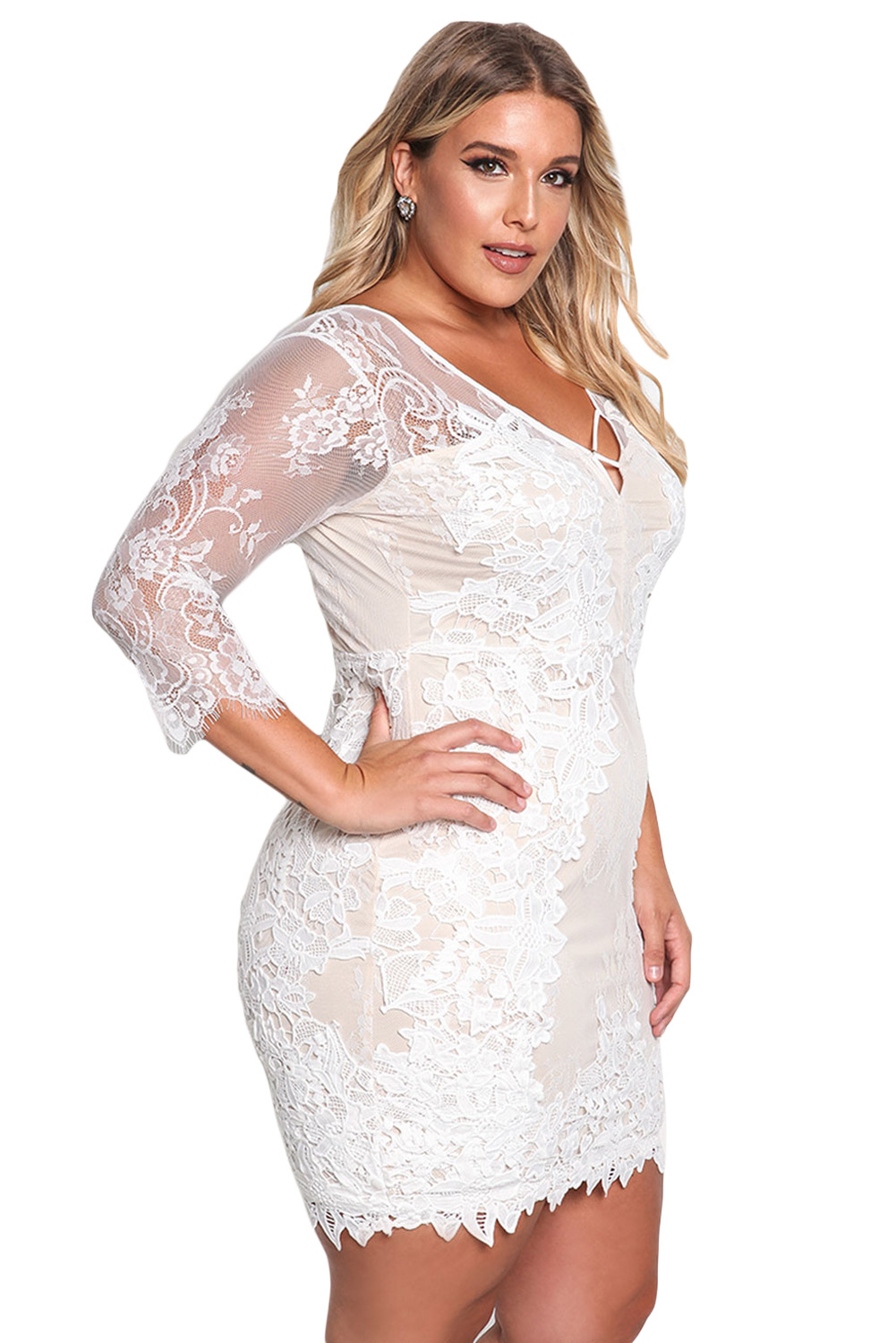 BY220134-1 White Plus Size Floral Lace Embroidered Dress