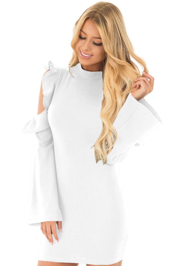 BY220150-1 White Cold Shoulder Ruffle Long Sleeve Bodycon Dress