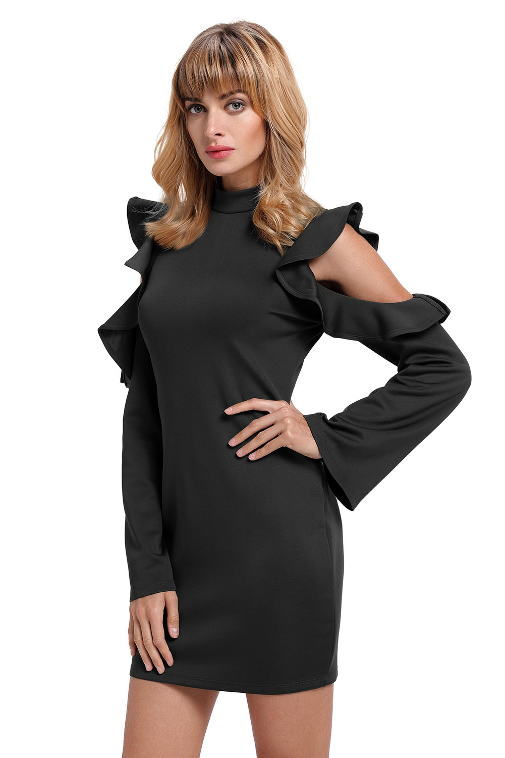 BY220150-2 Black Cold Shoulder Ruffle Long Sleeve Bodycon Dress