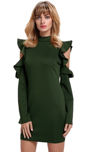 BY220150-9 Army Green Cold Shoulder Ruffle Long Sleeve Bodycon Dress
