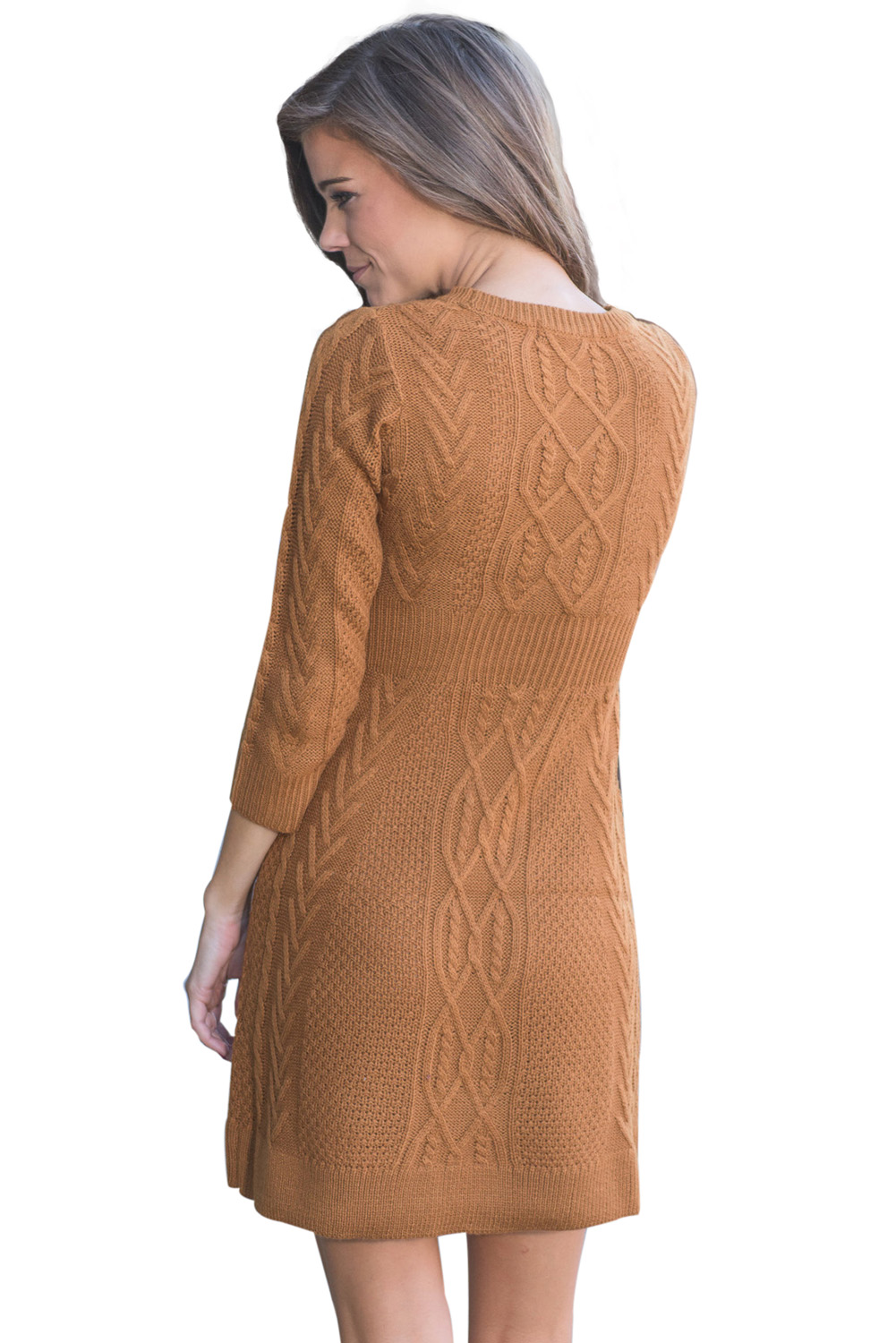 BY27692-17 Brown Cable Knit Fitted Sweater Dress