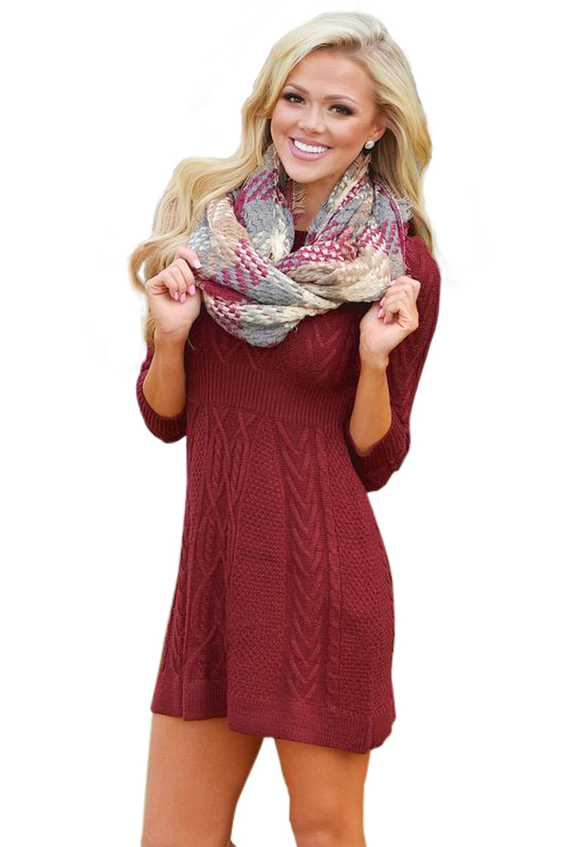 BY27692-3 Burgundy Cable Knit Fitted Sweater Dress