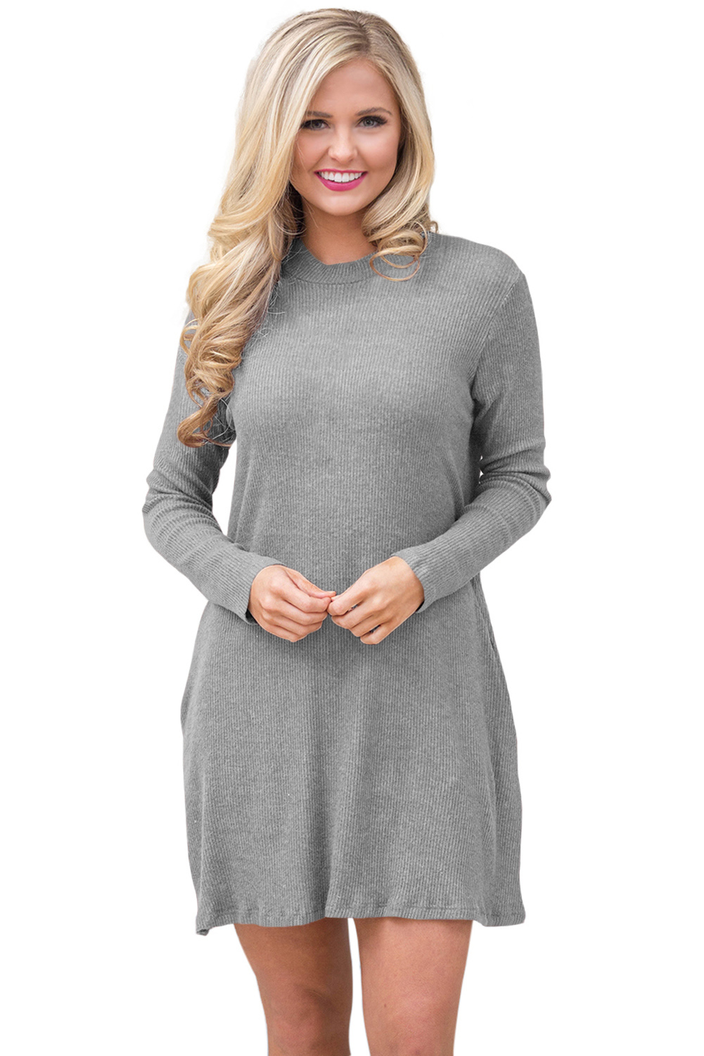 BY27712-11 Gray High Neck Long Sleeve Knit Sweater Dress