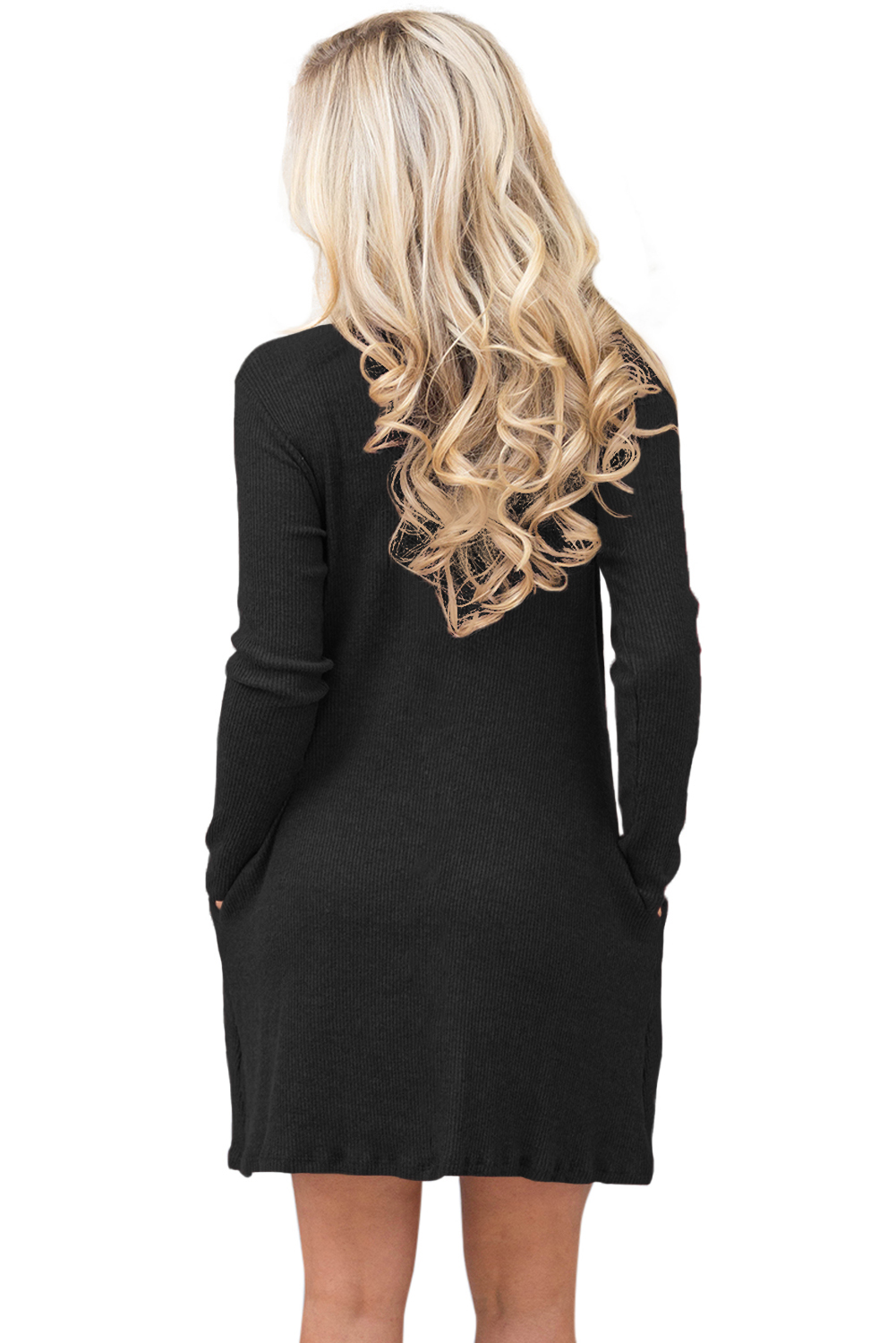 BY27712-2 Black High Neck Long Sleeve Knit Sweater Dress