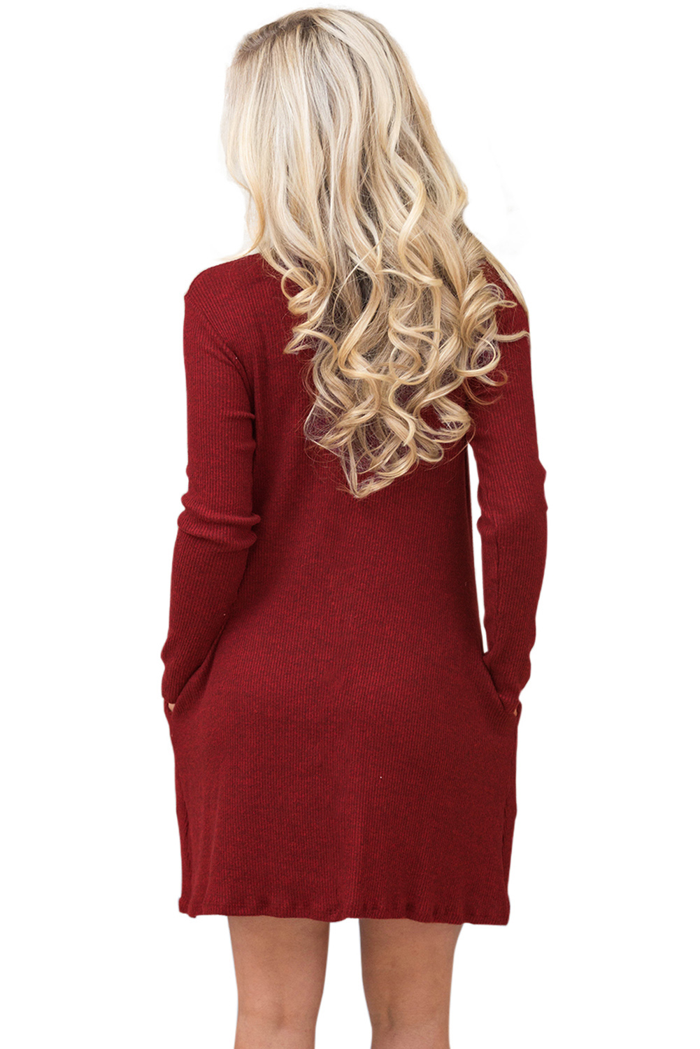 BY27712-3 Wine High Neck Long Sleeve Knit Sweater Dress