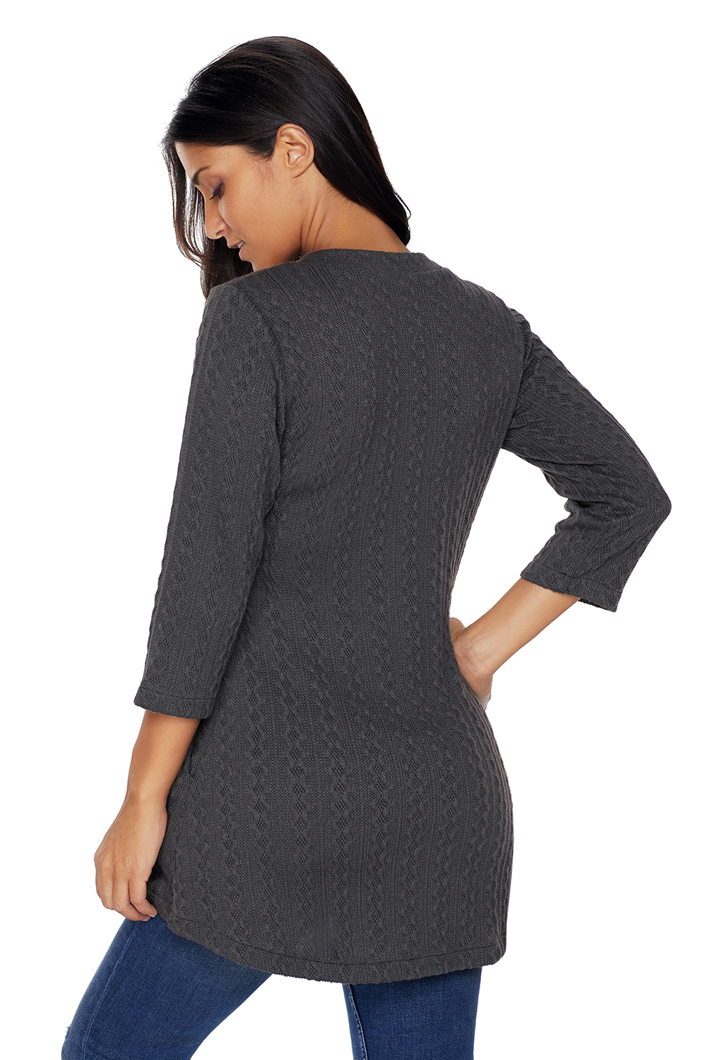 BY27750-1011 Charcoal Cable Knit Button Neck Swingy Tunic
