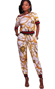 BY62071-1 White Gold Multiple Print Two Piece Jogger Set