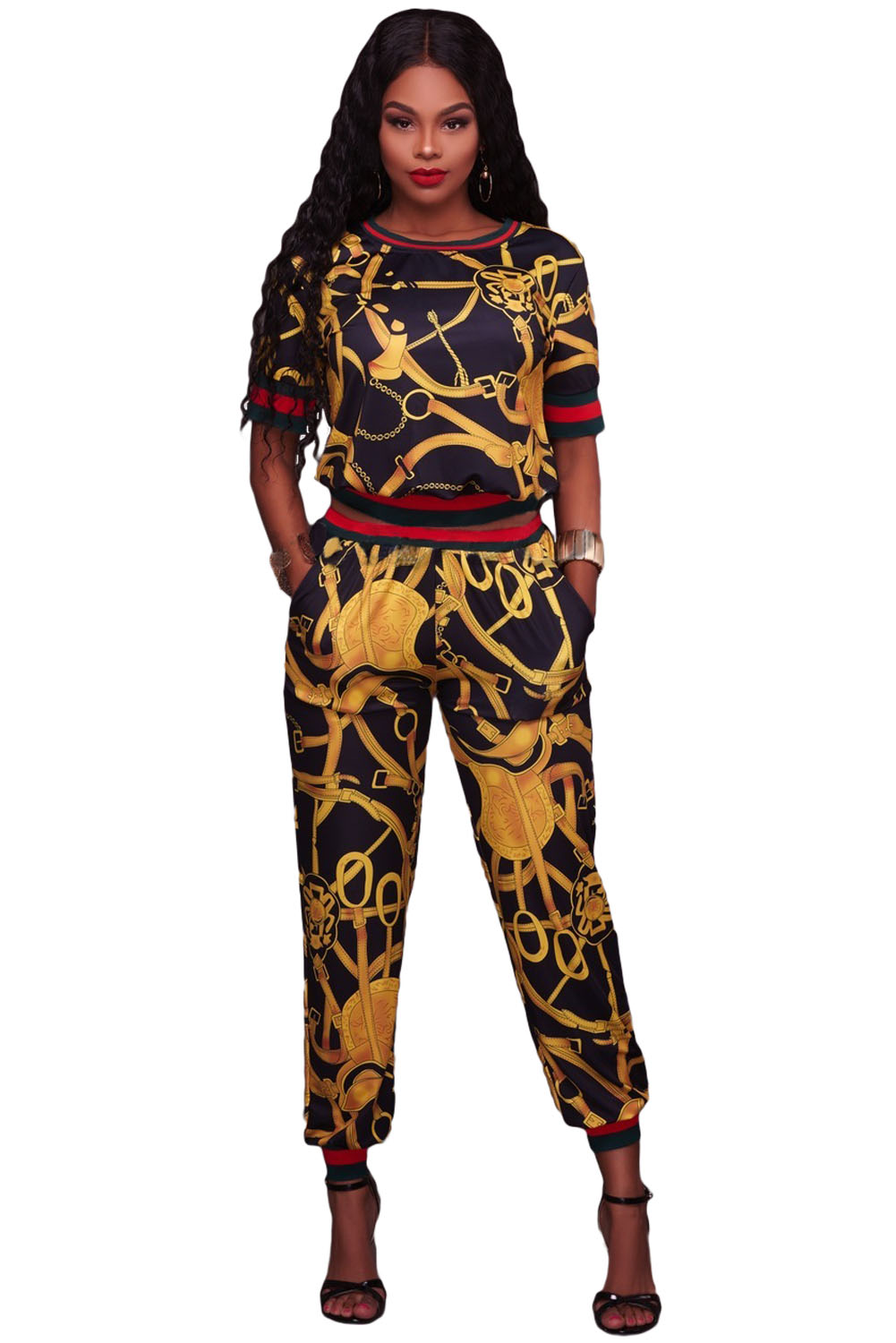 BY62071-2 Black Gold Multiple Print Two Piece Jogger Set