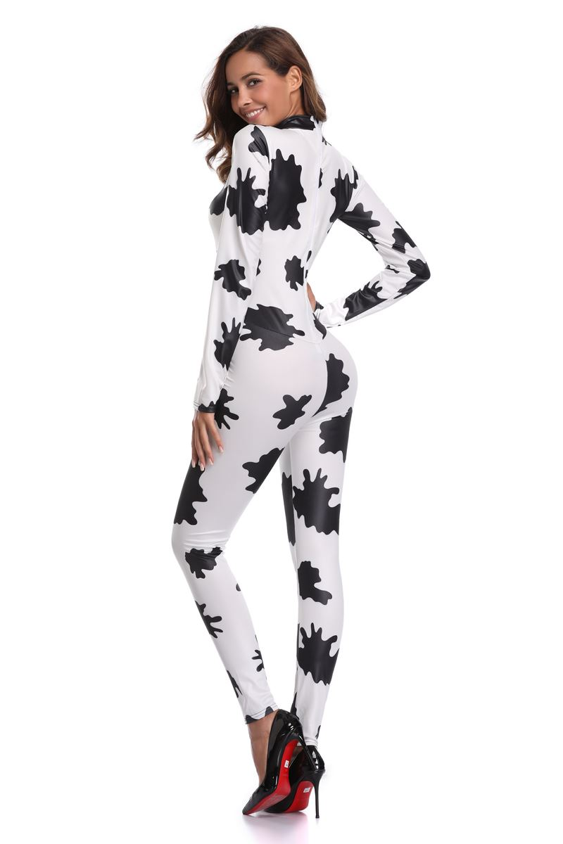F1821 Sexy Halloween zebra Print Catsuit Party Fancy Dress Jumpsuit playsuit