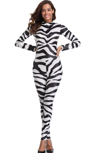 F1822 Sexy Halloween zebra Print Catsuit Party Fancy Dress Jumpsuit playsuit