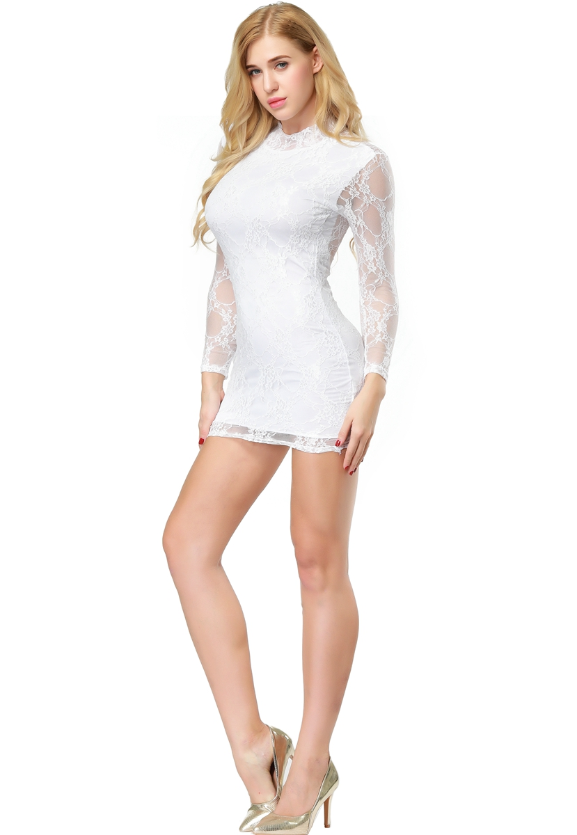 F2167-1 Sexy Lace-Minidress with turtleneck