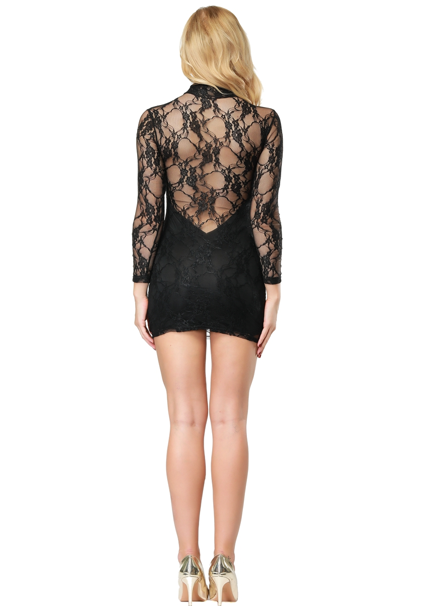 F2167-2  Sexy Lace-Minidress with turtleneck