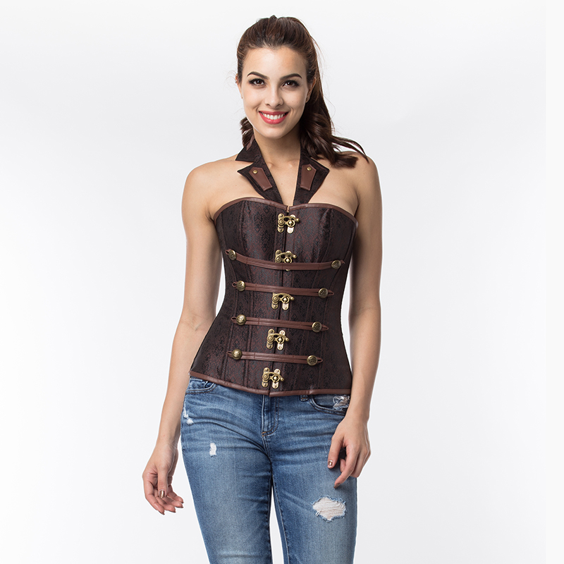 F9083 Brown Collar Zipper Steampunk Corzzet Trainer Overbust Waist Corsets