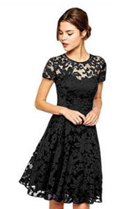 SZ60002-2 Fashion Summer Party Mini Dress Short Sleeve Blue Black Lace Dresses