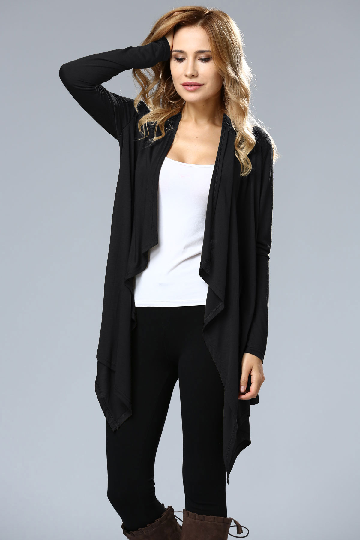 SZ60004-1 Asymmetric Neck Casual Cardigans
