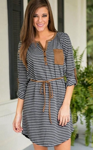 SZ60005 Womens Casual Vintage Dresses Mini Striped Dresses Ladies Dresses