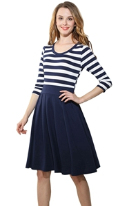 SZ60006 Women Stripes Long Sleeve Vintage Dress