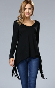 SZ60011 Casual Deep V-Neck Fringe Plain Long Sleeve T-Shirt