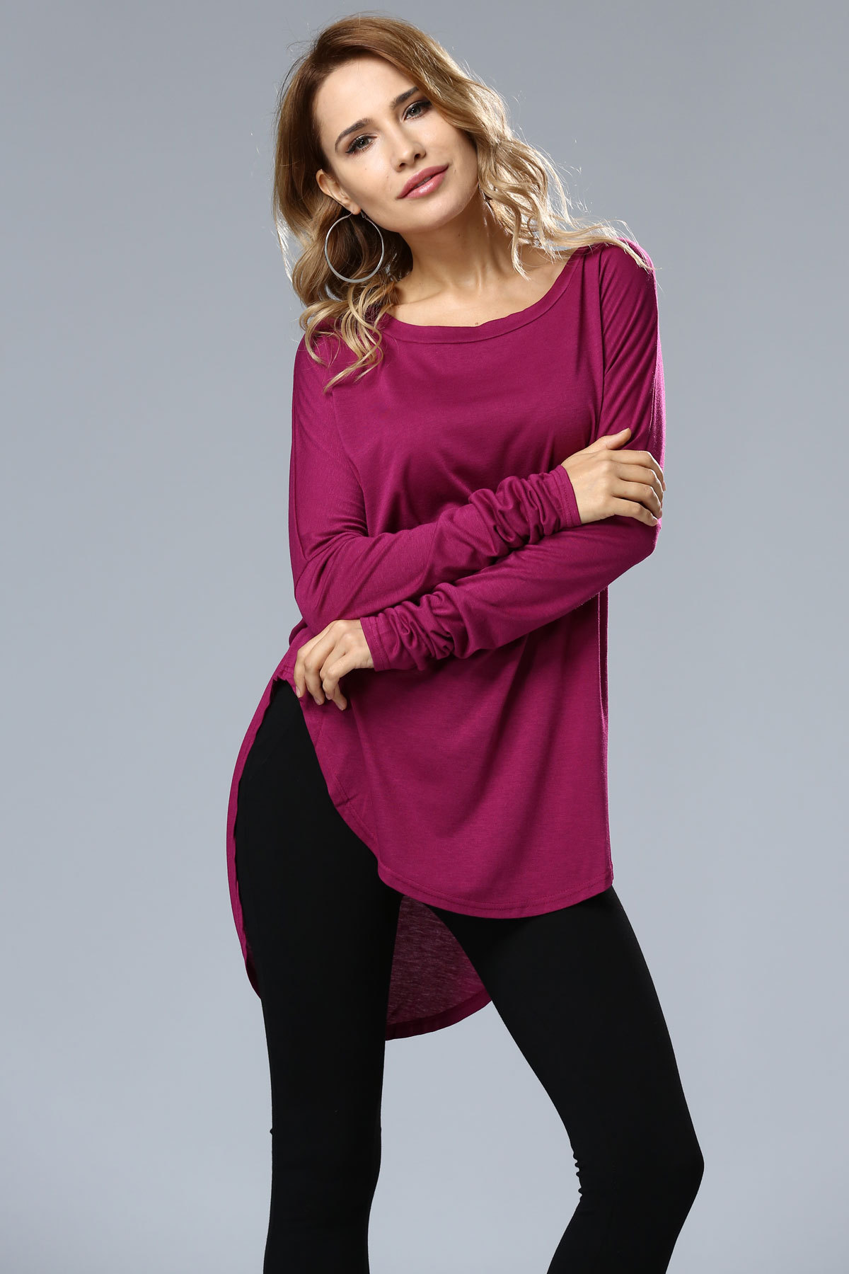 SZ60012 cheap summer womens blouse solid high low cozy top purplish red
