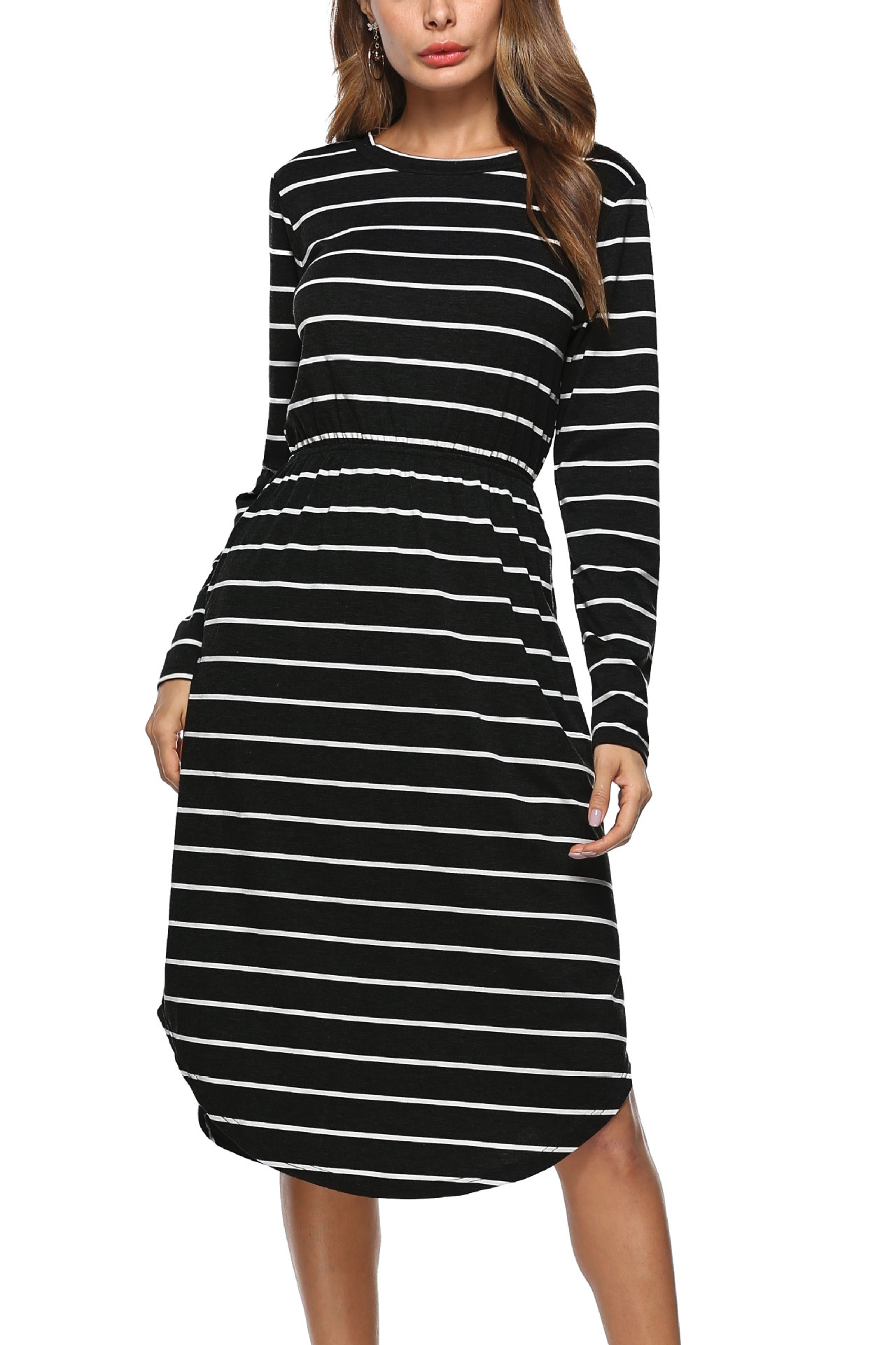 SZ60013-1 Casual Round Neck Long Sleeves Striped Pocket Midi Dress