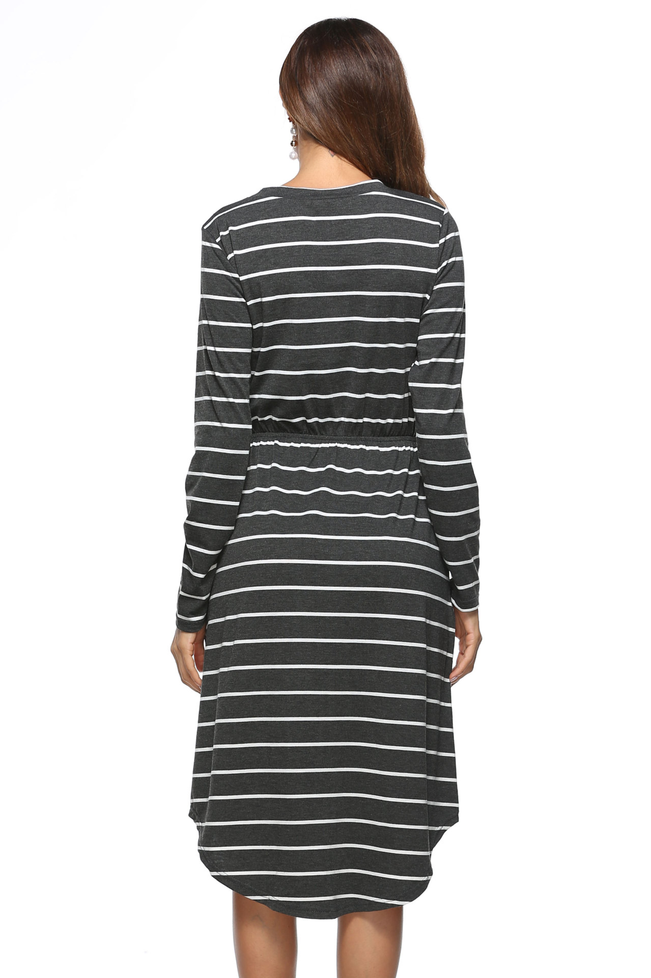 SZ60013-2 Casual Round Neck Long Sleeves Striped Pocket Midi Dress