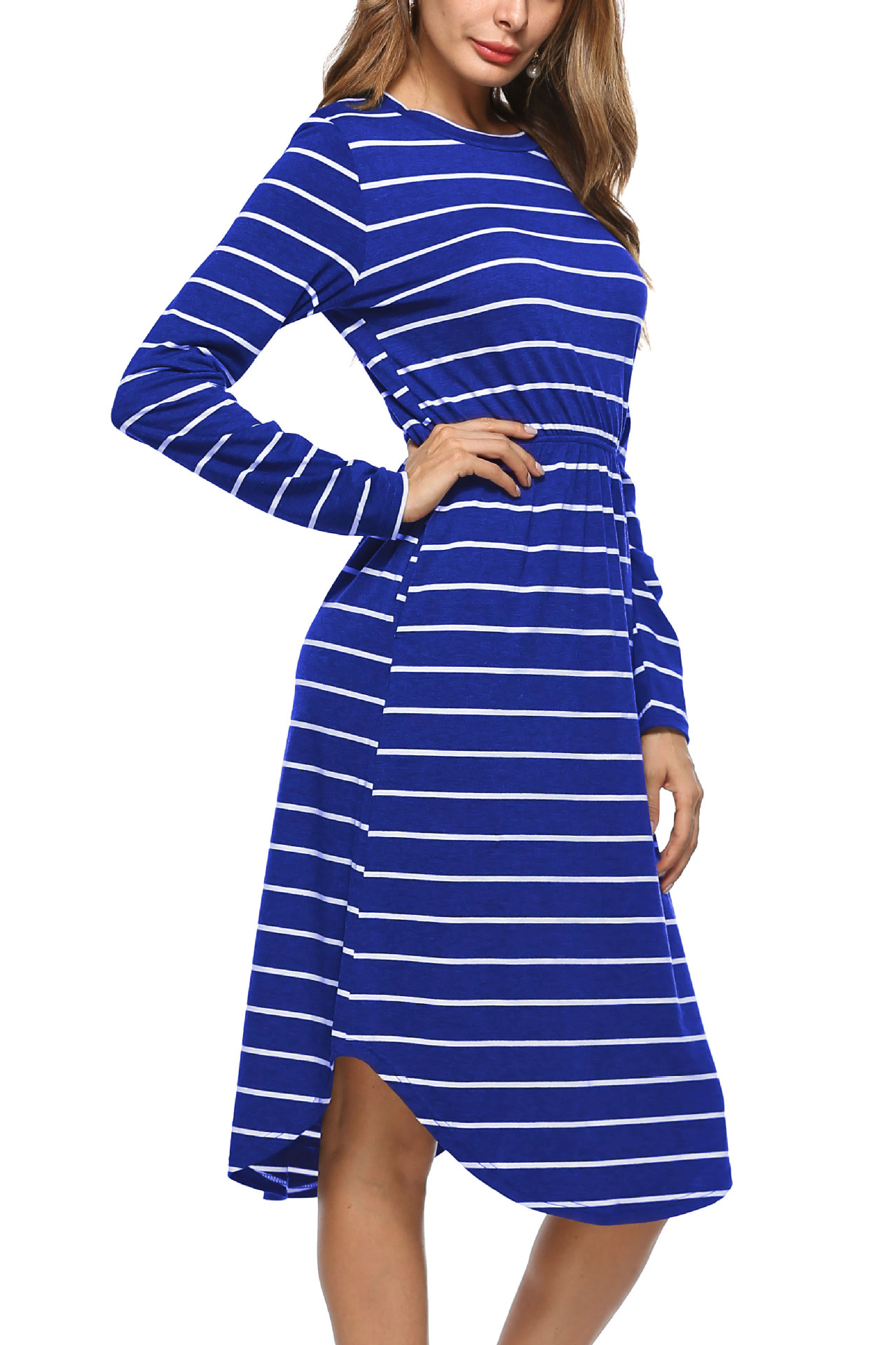SZ60013-4 Casual Round Neck Long Sleeves Striped Pocket Midi Dress