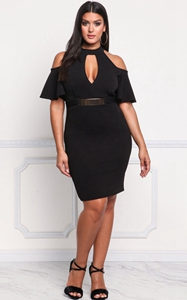 SZ60015-1 Sexy Off Shoulder Cut Out Chocker Bodycon Womens Plus Size Dress