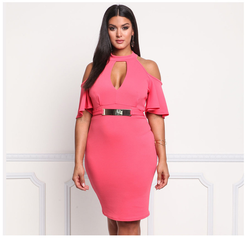 SZ60015-2 Sexy Off Shoulder Cut Out Chocker Bodycon Womens Plus Size Dress