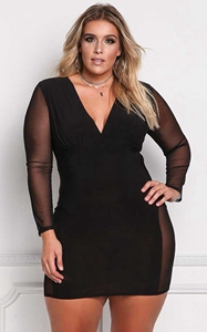 SZ60021 Womens Sexy V Neck Mesh Long Sleeves Autumn Plus Size Womens Dress