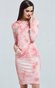SZ60025-1 Spring Summer Fashion Women Striped Tie Hooded Tight Dresses