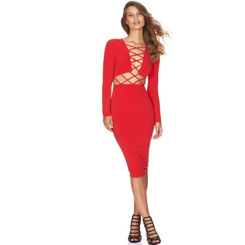 SZ60027-2 Womens Sexy Long Sleeve Stretch Bodycon Party Bandage Dresses