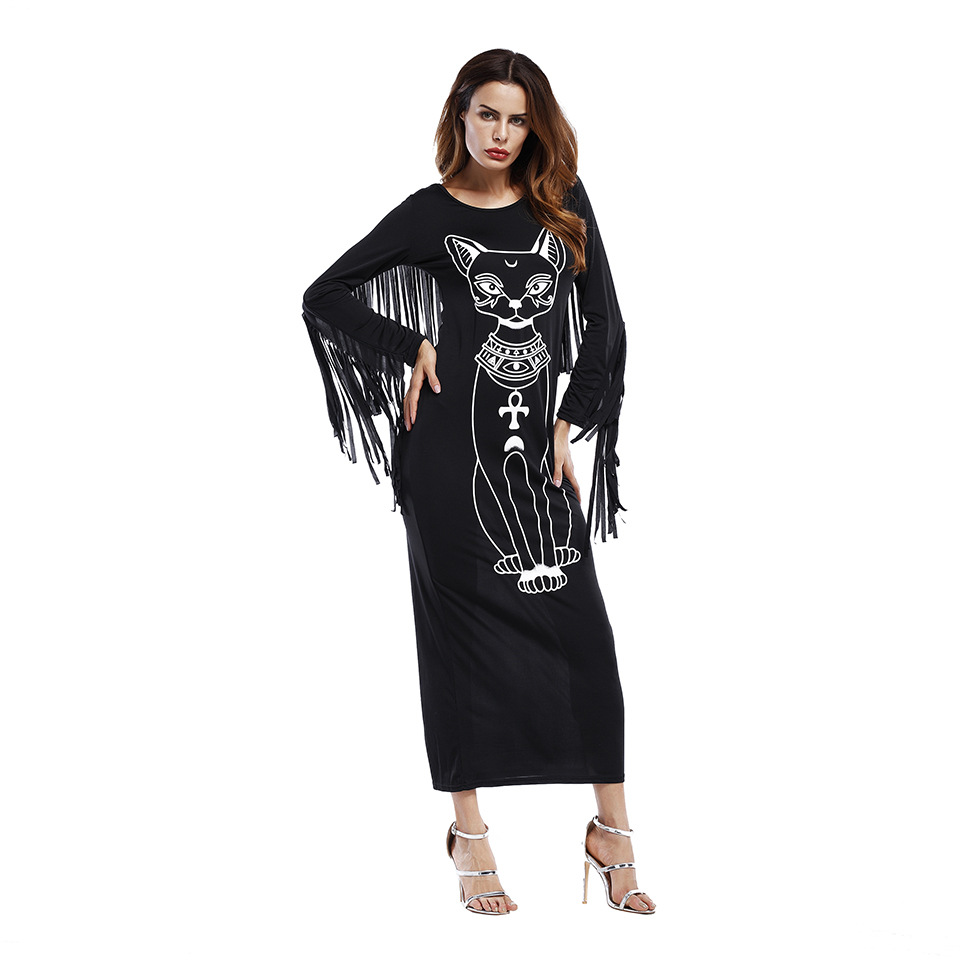 SZ60030-1 Long Sleeve Boho Fringe Casual Fitted Bodycon long Cat printed Dress
