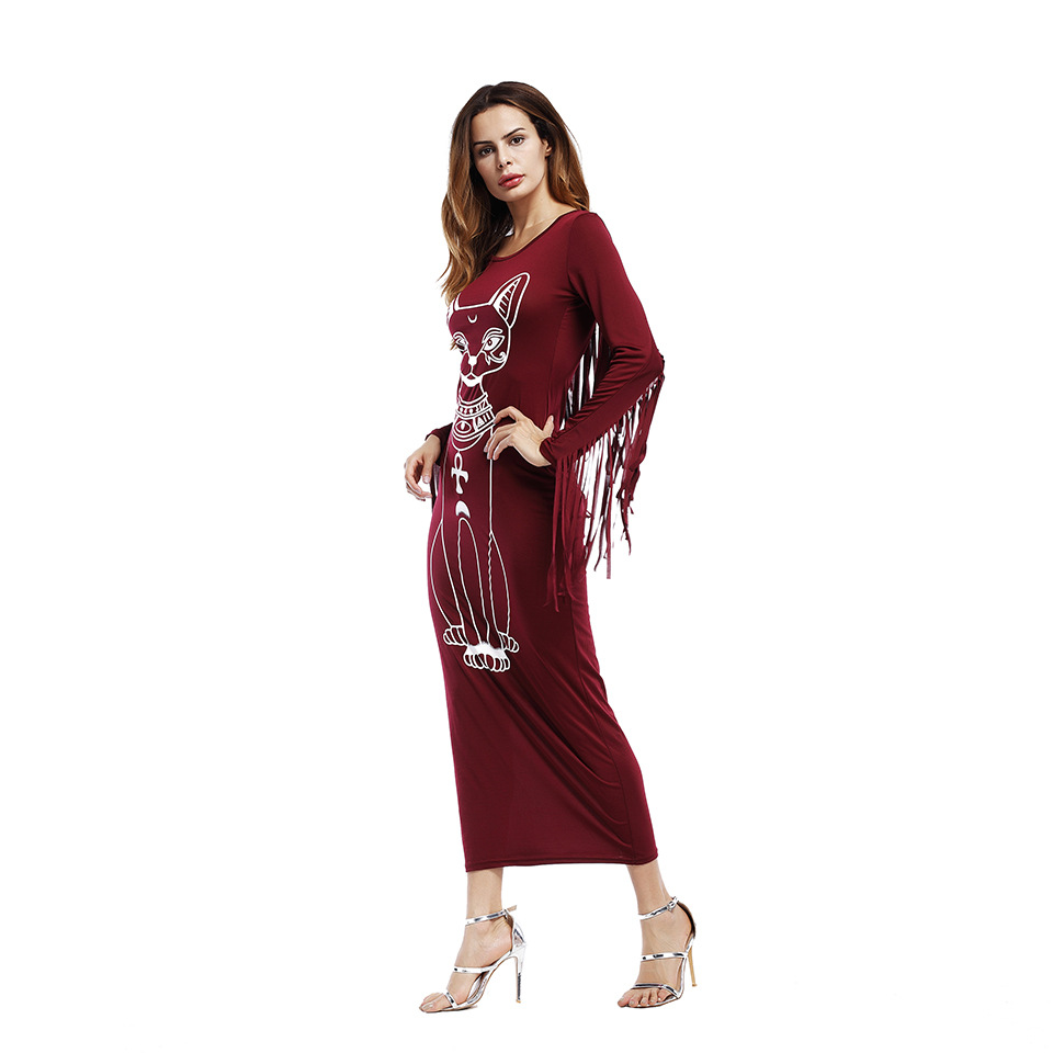 SZ60030-2 Long Sleeve Boho Fringe Casual Fitted Bodycon long Cat printed Dress
