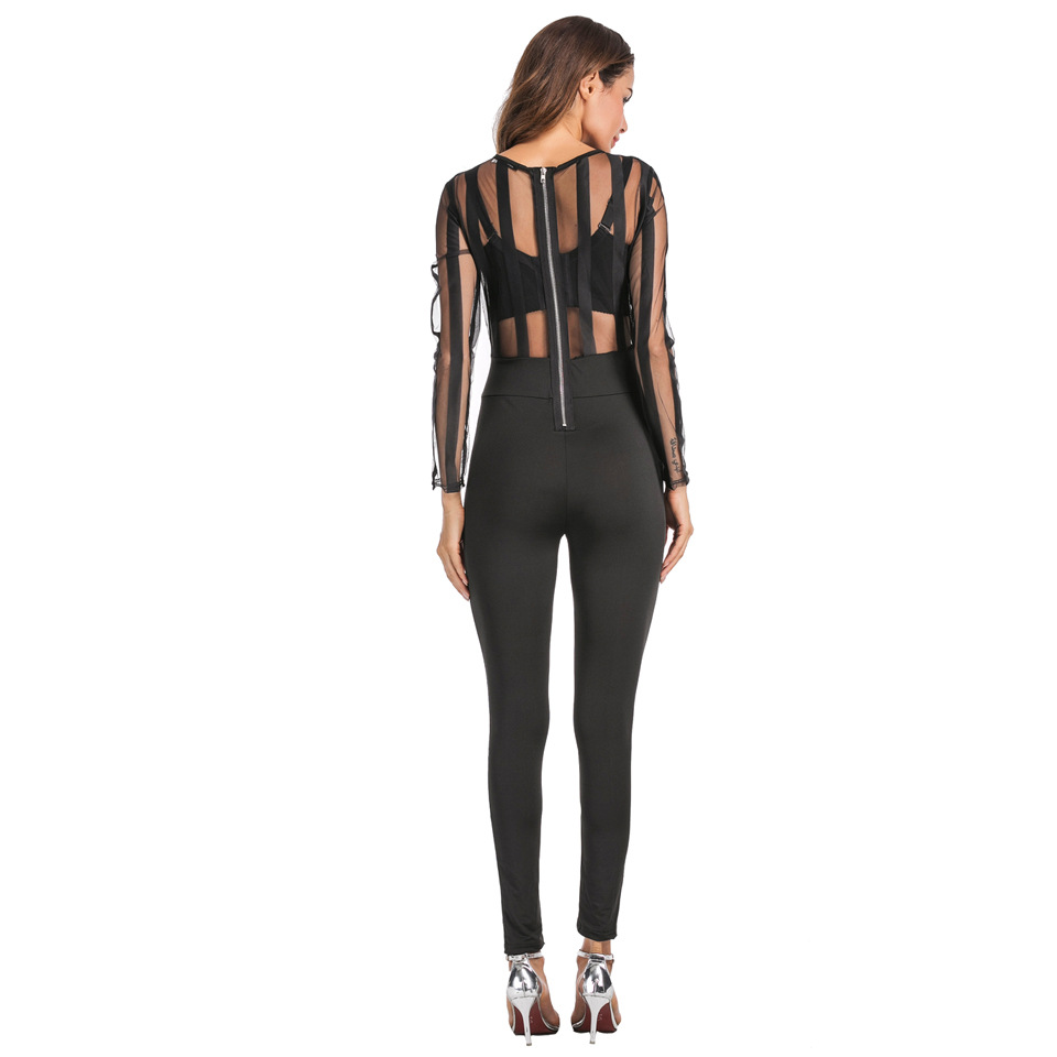 SZ60032 Sexy Summer Womens O Neckless Sleeves Mesh Black Catsuit Playsuit Suits