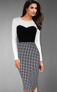 SZ60033 Charming Houndstooth Printed Spliced Bodycon Midi Dress For Women