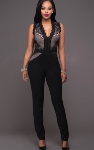 SZ60034 Sexy Sleeveless Deep V Neck Sequin Black Jumpsuit