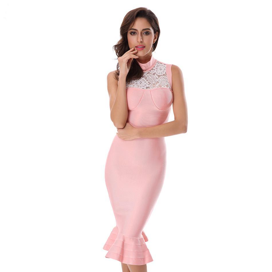 SZ60036 Sexy Sleeveless Lace Spliced Party Evening Casual Fishtail Bodycon Dress