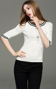 SZ60037-1Womens Classic Half Sleeve 0-Neck Pullover Sweater Autumn Knitwear top