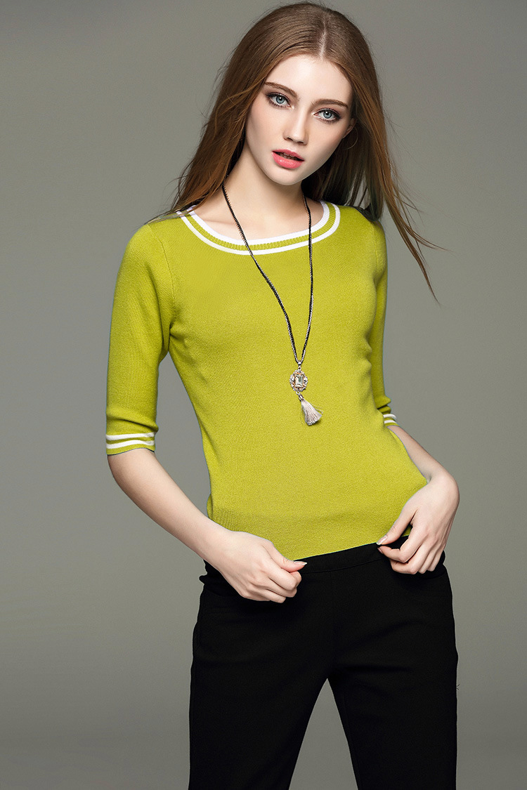 SZ60037-3Womens Classic Half Sleeve 0-Neck Pullover Sweater Autumn Knitwear top
