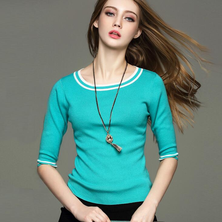 SZ60037-4Womens Classic Half Sleeve 0-Neck Pullover Sweater Autumn Knitwear top
