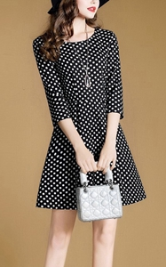 SZ60038 half sleeve midi office polka dot dress for women