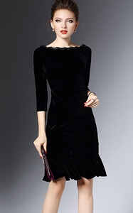 SZ60039 Black Velvet Flounce Bateau Boat Neck Midi Dress
