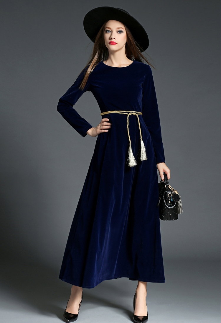SZ60040-3 Retro Vintage Dark Blue Velvet Dress Women Long Sleeve Collar Dresses