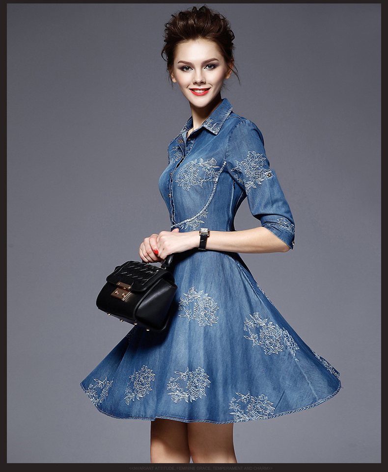 SZ60041 Stylish Embroidery Polo Neck Half Sleeve Denim Midi Skater Dress