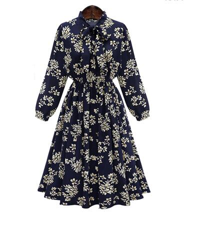 SZ60043  Office Tunic Vintage Floral Print Bow Collar Long Sleeves Boho Dress