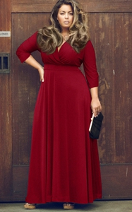 SZ60044-1 Women Long Knitwear V Neck Plus Size Bridesmaid Dress with Long Sleeve