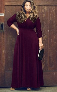 SZ60044-2 Women Long Knitwear V Neck Plus Size Bridesmaid Dress with Long Sleeve