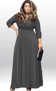SZ60044-3 Women Long Knitwear V Neck Plus Size Bridesmaid Dress with Long Sleeve